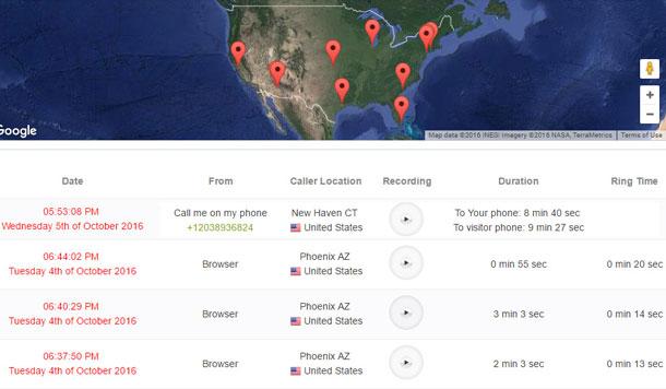 caller geo location map live chat alternative